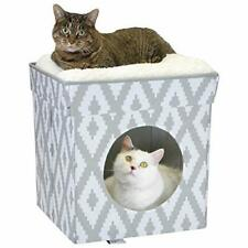 New listing Kitty City Large Cat Bed Stackable Cat Cube Indoor Cat House/Cat Condo White .