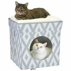 Kitty City Large Cat Bed Stackable Cat Cube Indoor Cat House/Cat Condo White ...