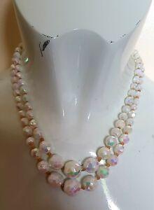 1950s  Vintage  Crystal White Aurora Borealis Glass Necklace  Jewellery Jewelry