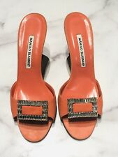 Manolo Blahnik Coral Suede Crystal Buckle Mules Heels Shoes