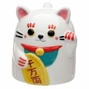 MANEKI NEKO LUCKY CAT UPSIDE DOWN NOVELY CERAMIC MUG COFFEE TEA CUP NEW IN BOX *