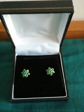 9ct Gold Emerald Cluster, Stud Earrings, Gift Boxed, Valentine's Day? ❤️