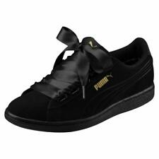 PUMA Vikky Ribbon Suede Satin Black/Black Suede Leather Casual Shoes Sneakers