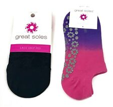 Great Soles Set of 2 Grip Ped Black Lace and Dip Dye Grip Sock One Size