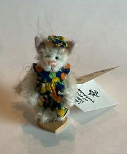 """DEB CANHAM l CLEMENTINE"""" WHITE MOHAIR KITTY"""", 3""""FULLY JOINTED WEARING DRESS& BOW"""