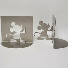 Disney Mickey Mouse Cutout Silhouette Bookends by Michael Graves Metal Gray Pair