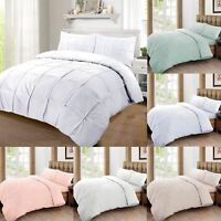 Cartier Soft 100% Egyptian Cotton Pintuck Ruched Quilt Duvet Cover Bedding Set
