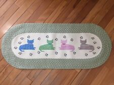 Whimsical Playful Kitty Meow Floor Runner  Paw Print Green Accent Braided Runner