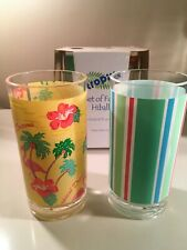 New! Set of 4 Tropix Acrylic Highball Glasses/18 oz. each/Multi color/Flamingos
