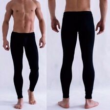 Mens Solid Color Underpants Long Johns Pants Thermal Low Rise Trousers Underwear