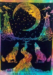 Large Crying Wolf and Moon Tarot Wall Hanging Tapestry Hippie Bohemian Mandala