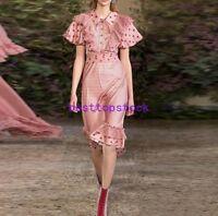 Hot Sale Womens Occident Shirts Collar Chiffon Retro Summer Printed Dresses Size