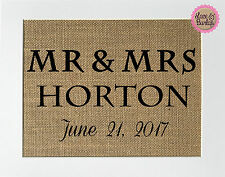 5x7 Mr&Mrs / Burlap Print Sign UNFRAMED / CUSTOM name date / Wedding House Sign