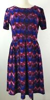 LuLaRoe Amelia Dress Womens Large Purple Jewel Tone Pleats Stretch Career Casual