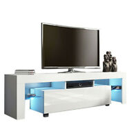 """51.2"""" TV Stand Unit Cabinet Console Table With LED Shelve Drawer Furniture White"""