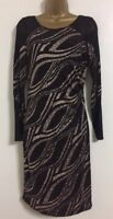 EX Wallis Size 8-18  Black Gold Glitter Shiny Sparkle Party Evening Shift Dress