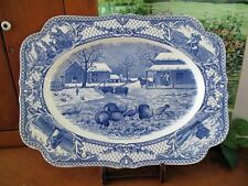 English Crown Ducal COLONIAL TIMES Blue Thanksgiving Day Platter