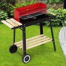 Broil-Master BBQ Grillwagen Holzkohlegrill Gartengrill mit Feuerbox schwarz-rot