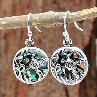 Elegant Women 925 Silver Gemstone Turtle Drop Dangle Earrings Ear Stud Jewelry