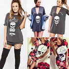 Women Summer Floral Skull Printed Short Sleeve Casual Party Mini Dress Long Top