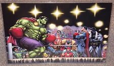 Hulk vs Superman Boxing Match Glossy Art Print 11 x 17 In Hard Plastic Sleeve