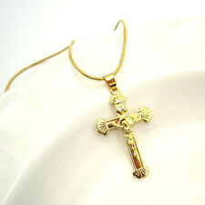 """18K Yellow Gold Filled Cross Jesus Pendant Necklace 18""""Chain Link GF Jewelry New"""