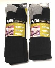 WALLS 6-PR MEN'S XL BIG & TALL HEAVY DUTY WORK SOCKS SOLID BLACK/GRAY HEEL & TOE