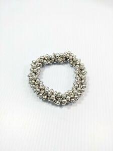 Artisan Silver Tone Gray Faux Glass Pearl Rhinestone Cluster Stretch Bracelet