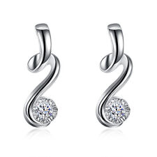 925 Silver Crystal Earring Jewelry Fashion Wedding Solid Stone Cute Women Stud