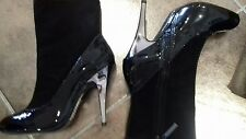 BNWT Kurt Geiger Stunning Silver Heeled Black Leather & Suede Ankle Boots 39 UK6