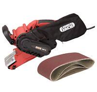 """Electric Variable Speed 3"""" Belt Sander 240v with Dust Bag x 3 Grit Sanding Belts"""