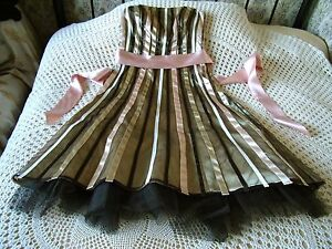 Party dress by DEBUT Size 8 - 10 Gold pink brown ribbon & braid on brown mesh