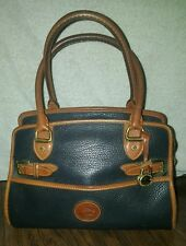 VINTAGE AWL DOONEY BOURKE NAVY PEBBLE LEATHER BUCKLE SATCHEL PURSE