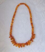 Charm Natural Baltic Honey Egg Yolk Sunny Amber Beads Necklace Russian Vintage