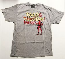 Marvel Deadpool - Tacos Everyday - Men's 2X-Large Grey T-Shirt Graphic Tee  2XL