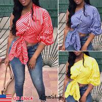 Fashion Womens Stripe One Shoulder Tops T Shirt Sleeve Summer Asymmetric Blouse