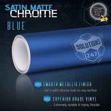 "60"" x 96"" Blue Satin Matte Chrome Metallic Vinyl Wrap Sticker Decal Bubble Free"