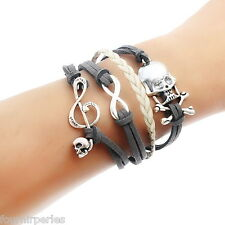 FP 1 Bracelet Infini Tête de Mort Musique Multi Rangs 19cm