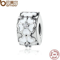 Bamoer Authentic S925 Sterling Silver CLIP Charm White-Flower Fitting Bracelets