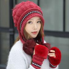 2pcs/Set Women Ladies Warm Hat With Gloves Beanie Cap Winter Gift Mitten Gloves