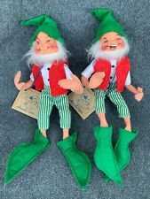 1991 Annalee Dolls Tinsel The Elf 7365 Pair Holiday Christmas Pixie Elves Santa