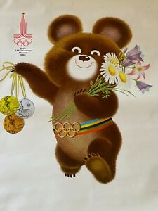 OLYMPIC GAMES ORIGINAL SOVIET POSTER with Bear Mishka Misha MOSCOW 1980 USSR