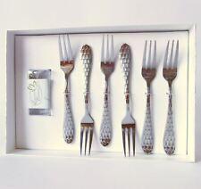 Set 6 forchette dolce metallo argentato bomboniera con scatola STOCK 11917 ETM