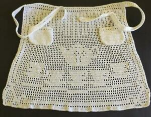 Pretty Hand Crocheted Half Apron Patterned with Teapot, Cups & Saucers 2 Pockets