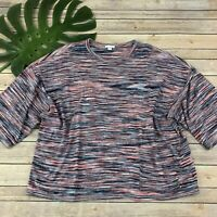 Pure J Jill Sweater Knit Top Size L Petite Pink Blue Stripes Dolman Short Sleeve