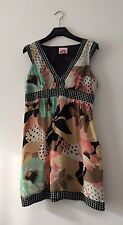LIPSY 100% SILK FLOWER/ POIS PRINT KNEE LENGTH DRESS UK 12, EXCELLENT CONDITION