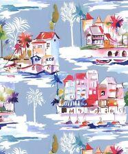 Tapete Rasch - Riviera Szene - Wasserfarbe Effekt - Tropische Meer - 216608