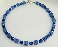 A Sign *Calla* Lava Halskette//Kette Würfel gebürstet 20 mm Blau//Türkis//Silber