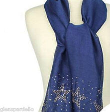 Midnight Blue New goldtone flakes Kirks Folly Starry Night Studded Scarf