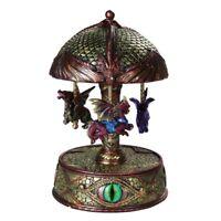 DRAGONS EYE Hand Painted Resin Vintage Style Clockwork Musical Carousel (20cm)